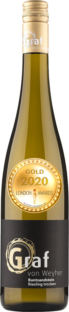 2016 Buntsandstein Riesling Dry was awarded Gold in London Awards 2020, by London Newspaper.