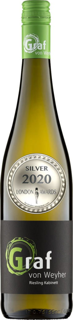 2018 Riesling Kabinett Dry was awarded Silver in London Awards 2020, by London Newspaper.